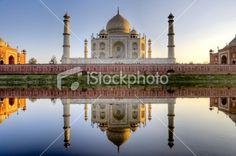 Taj Mahal and its reflection in Yamuna river, HDR Royalty Free Stock Photo