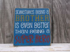 Superhero Superman Blue Red Yellow Brother Gift by OldeThymeSigns