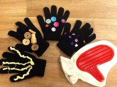 Homemade sensory gloves for the babies to explore and feel!