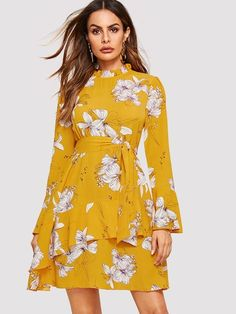 edb12ba25e04 Bell Sleeve Frilled Neck Floral Dress  dress181116448  -  40.00   moonbaye. com Moda