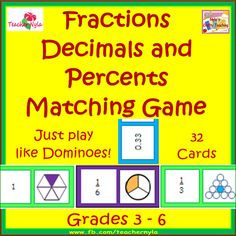 #Fractions #Decimals and #Percents Matching #Dominoes Card Game $ #math