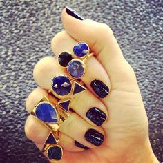 Janna Conner Lapis & Jade, Freshwater Pearl and Onyx Rings. At jannaconner.com.
