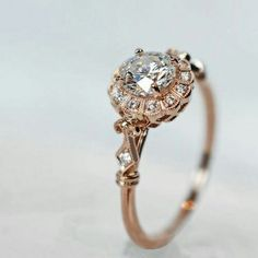 rose gold vintage wedding engagement ring #weddingring