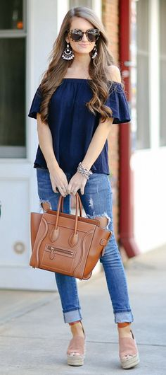 @roressclothes closet ideas #women fashion outfit #clothing style apparel Navy Off Shoulder Top, jeans