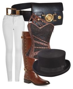 """""""Steam punk"""" by jocelyn-worthington on Polyvore featuring Versace, 2LUV, Vince Camuto and Scala"""
