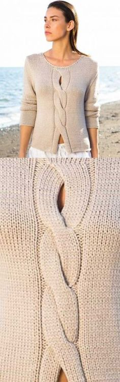 Easy Knitting : Ladies Top Free Knitting Pattern with a Center Cable Stitch, Baby Knitting Patterns, Knitting Patterns Free, Knitting Stitches, Sweater Patterns, Crochet Patterns, Cardigan Pattern, Crochet Ideas, Stitch Patterns, Crochet Cardigan