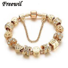 5a20b1e0f22 2016 New Arrival Heart Charm Bracelets For Women Gold Chain Bead Bracelets  & Bangles Original Pulsera SBR160131