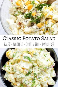 Paleo creamy classic potato salad with crunchy celery and fresh dill to satisfy your cookout cravings #paleo #glutenfree #whole30