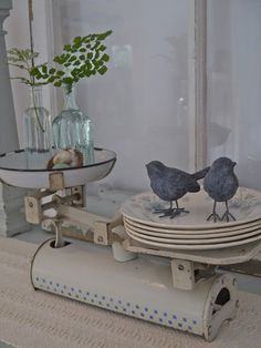 i love how they use a vintage scale to display pretty plates and plants Vintage Shabby Chic, Vintage Love, Vintage Decor, Old Scales, Vibeke Design, Photo Deco, Bird Cages, Farmhouse Chic, Vintage Kitchen