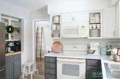 Budget Friendly DIY Farmhouse Kitchen Makeover With Painted Cabinets Faux Shiplap Backsplash, All Things With Purpose Featured On Diy On A Budget, White Modern Kitchen, White Kitchen Renovation, Kitchen Upgrades, Shiplap Backsplash, Diy Kitchen Cabinets, Diy Kitchen Backsplash, White Kitchen Cabinets Diy, Kitchen Diy Makeover