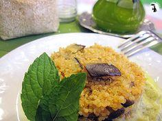 Quinoa con melanzane e crema di porri alla menta