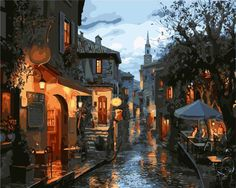 "16X20"" DIY Paint By Number Kit Oil Painting On Canvas Old Town Scenery SPA575 #Unbranded"