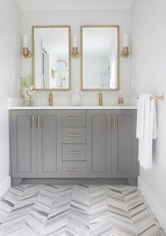 Look We Love: Gray Kitchen Cabinets with Brass Hardware-- Kitchen Inspiration