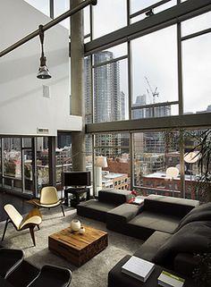 Bachelor pad dreaming... #Chicago #loft #apartment #views #decoration #decor #interior #design
