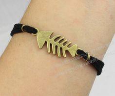Jewelry bracelet fish bone bracelet bronze charm by handworld, $1.59