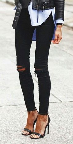 #street #style / destroyed black jeans