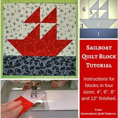 """Sailboat quilt block pattern. Instructions for 4"""", 6"""", 8"""" and 12"""" finished blocks."""