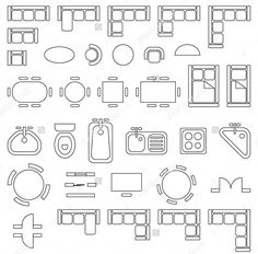 Standard furniture symbols used in architecture plans icons set, graphic design elements, outlined, isolated on white background, vector illustration. Architecture Symbols, Interior Architecture Drawing, Architecture Blueprints, Architecture Concept Drawings, Interior Design Sketches, Architecture Plan, The Plan, How To Plan, Free Floor Plans