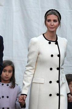 Ivanka Trump wearing Altuzarra Bellasio Coat and Altuzarra Velvet Headband