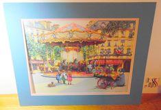 Beautiful & colorful signed art print by Sandi LeBron.  Carnival/ carousel art #2.