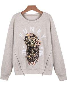Grey Long Sleeve Leopard Print Loose Sweatshirt - Sheinside.com