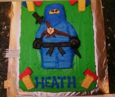 Lego ninjago bday cake. Sour cream pound with buttercream icing.