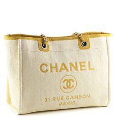f5c474b96b7f69 Chanel Yellow Canvas Large Deauville Tote Chanel Bags, Chanel Handbags,  Coco Chanel, Designer