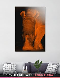 Discover «Rhino neon orange 6085», Numbered Edition Aluminum Print by Barbara Fraatz - From $74.9 - Curioos Framed Art Prints, Canvas Prints, Pictures Online, Aluminium Sheet, How To Look Pretty, High Gloss, Things To Come, Neon, Orange