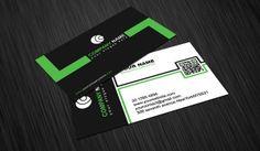 Retro Black White & Green Business Card Template