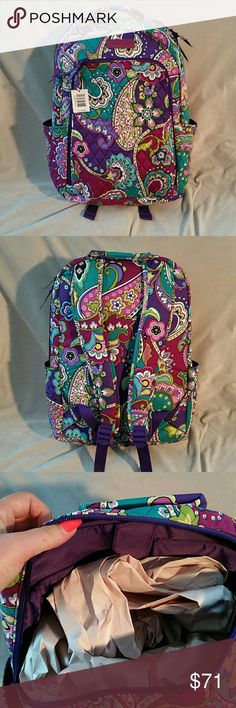 "Vera Bradley Laptop Backpack Backpack with side pockets. Heather pattern . 12"" W x 16""H x 7 1/2"" D with 2 3/4 handle drop 32"" adjustable strap. Vera Bradley Bags Backpacks"