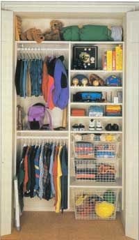 closet organizers small closets | 2006 Publications International, Ltd. Use shelves and baskets to ...