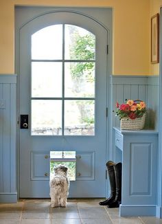 Cottage style doggy door, cute!