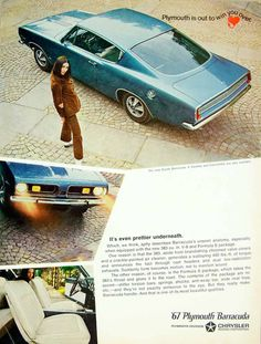 1967 Ad Vintage Plymouth Sports Barracuda Blue Two-door Pony Muscle Car YHR3