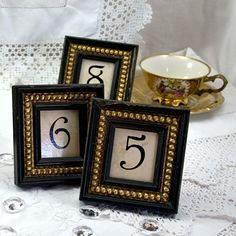 10 Table Numbers Black and Gold Shabby Chic Wedding and Events Table Decor. $95.00, via Etsy.