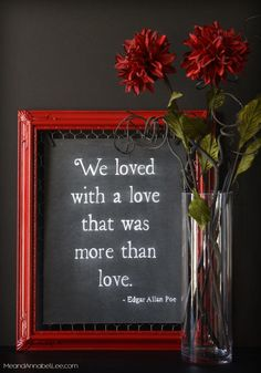 Incredible Dark Romance DIY Chalkboard Art – Annabel Lee Quote by Edgar Allan Poe – Gothic Valentine – www.MeandAnnabelL… The post Dark Romance DIY Chalkboard Art – Annabel Lee Quote by Edgar Allan Poe – Gothic … appeared first on Decor For Home . Edgar Allan Poe, Annabel Lee, Gothic Room, Gothic House, Victorian Gothic Decor, Victorian Mirror, Cute Dorm Rooms, Cool Rooms, Goth Home Decor