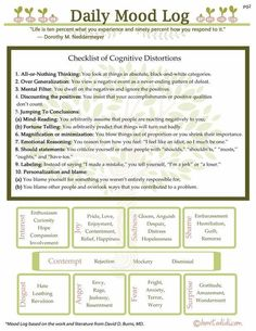 Daily mood log (worksheet). Challenging distorted thinking & negative views on life. Challenging habitual habits.