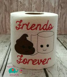 Friends Forever embroidered toilet paper, gag gift, white elephant gift, bathroom decoration, home decor, best friends, bff, friend, love - pinned by pin4etsy.com