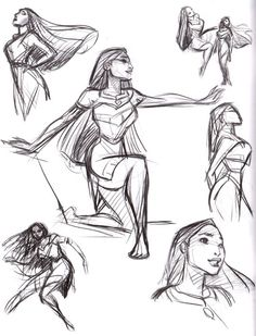 Pocahontas - Pres Romanillos Animation Storyboard, Animation Sketches, Disney Animation, Disney Sketches, Disney Drawings, Art Drawings, Drawing Sketches, Drawing Disney, Drawing Faces