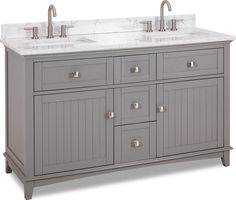 Jeffrey Alexander - Hardware Resources double Grey vanity w/ Satin Nickel hardware, contemporary Shaker style, hidden tipout storage space, and preassembled Carrara-look Engineered Marble top and 2 rectangular bowls Carrara Marble Countertop, Wood Countertops, Wood Cabinets, Gray Vanity, Vanity Set, Vanity Cabinet, Home Design, 60 Inch Vanity, Marble Vanity Tops