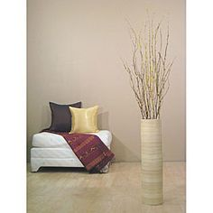 overstockcom cylinder shaped floor vase is handcrafted from natural bamboo decorative - Decorative Floor Vases