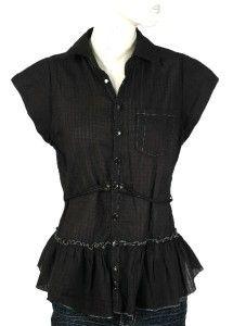 Black ruffle tunic top