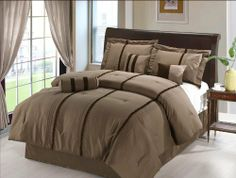 "7 Pcs Modern Brown Lace Bedding Comforter Set Bed In A Bag Queen Coffee by Jaba. $76.98. 2 Pcs Standard Pillow Shams (20"" x 28""). 1 Pc Neckroll. 1 Pc Queen Size Comforter (86"" x 86""). 1 Pc Square Cushion , 1 Pc Breakfast Pillow. 1 Pc Bedskirt (60"" x 80"" + 14"" Drop). 7 Pcs Luxury Comforter Set This is a very attractive comforter set. This comforter set will give your room a new look! Style#: 20585 Condition: Brand New Size: Queen Design: Mod..."