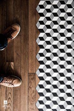 black white hexagonal 3d tiles bathroom