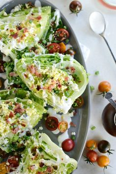 This loaded wedge salad is drizzled with a simple black pepper buttermilk dressing and topped with hardboiled egg blue cheese bacon and green onions. A fun twist on a classic wedge salad. Clean Eating, Healthy Eating, Wedge Salad Recipes, Vinaigrette, Salads For A Crowd, Cooking Recipes, Healthy Recipes, Soup And Salad, Big Salad