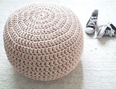 Blush Nude Pouf Ottoman Blush Nude Nursery Foot by LoopingHome