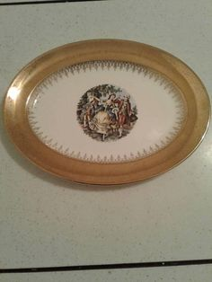 Stetson Golden Empress China Oval Platter Courting Couple