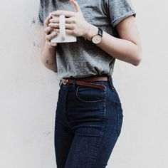 Basic grey tee tucked into high waist denim & thin belt // Shop cute effortless looks on Effinshop.com xx