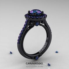 Caravaggio 14K Black Gold 2.0 Ct Color Change Alexandrite Engagement Ring, Wedding Ring R621-14KBG2AL I want this ring! but with a silver band