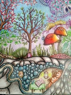 Enchanted Forest Coloring Book Pen Drawings Johanna Basford Prismacolor Colouring Books Color Inspiration Landscapes