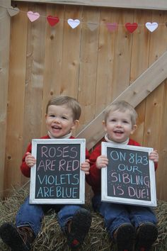 Twin pregnancy announcement with baby #3